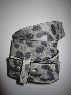 Leatherock 1 5 Gray Leopard Print leather belt strap w snap closure 34