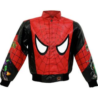 Spider Man Marvel Comics Kids Faux Leather Jacket New
