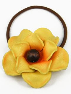 Leather Rose Flower Ponytail Holder Hair Tie Bow CHB2 B Yellow