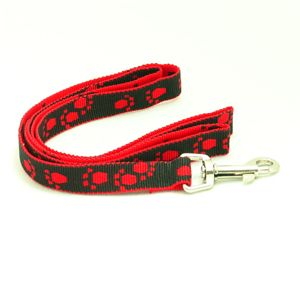 Pet Dog Red Black Adjustable Harness Leash Combo Nylon Paw Prints 45