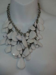 Lee Angel WHITE Multi Stone two Tier Escalating Silver Chain Necklace