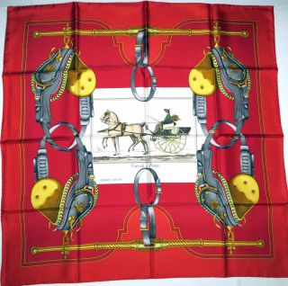 Silk Scarf Carrick Et Pompe Ledoux Horse Carriage Brick Red