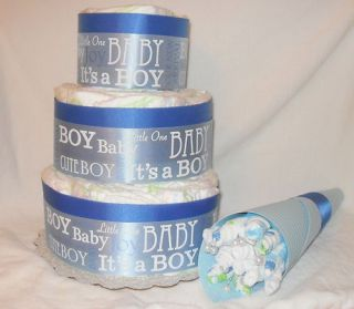 New Baby Boy Diaper Cake and Washcloth Bouquet Great Shower Gift