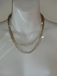 Lee Angel Silver Gold Multi Seed Bead Crystal Necklace $225