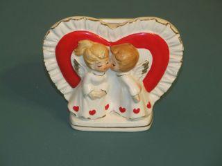 Lefton Valentine Kissing Angels Red Heart Planter Vintage Ceramic Vase