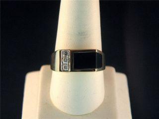 Gents 10K Yellow Gold Black Onyx 3 Diamond Ring