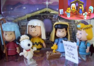 PEANUTS NATIVITY SET Charlie Brown Snoopy Lucy FIGURE DOLL PLAY TOYS