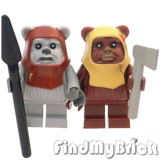 SW161 Lego Star Wars 2X Ewok Minifigures Chief Chirpa Paploo 8038 New