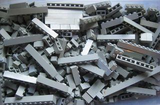 Lego Gray Basic Bricks 100 Pcs Bulk Lot 1x2 to 1x10
