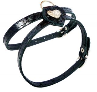 Rhinestones Leather Dog Harness 10 13 XS Small Black