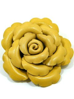 Genuine Leather Rose Flower Brooch Pin AAB3 Khaki 3 1 2 In