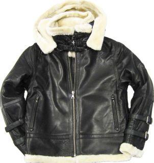 Mens Premium Lambskin Genuine Leather Bomber Jacket Removable Hood