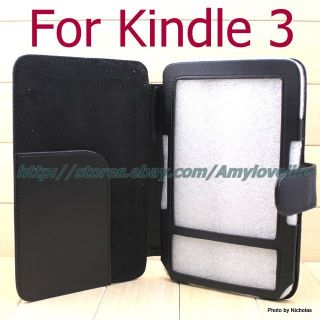 Case Black PU Leather Skin Cover Wallet Case for  Kindle 3 3G