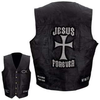 Black Leather Motorcycle Vest Christian Patches Cross Jesus Forever