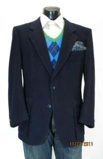 LeBaron Louis Roth Custom Made Cashmere Navy Blazer Sport Coat 46 R