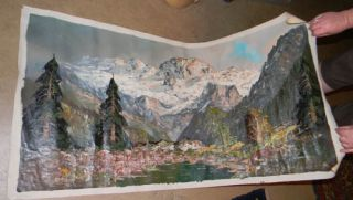 Sgn Lemke Alpine Mountains Valley Oil Painting 48X24