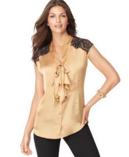 Sunny Leigh NEW Gold Solid Satin Low Bow Lace Trim Button Front Blouse