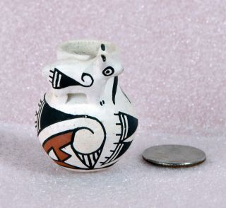 Pottery Polychrome Miniature Vase Pot with Animal by R Leno