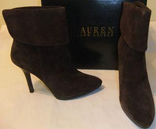 Lauren Ralph Lauren Leola Brown Suede Leather Ankle Boot Size 10 $180
