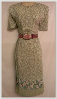 Leslie Fay Soft Green Floral Petite Dress Size 14P