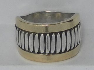 Rare Leonard Schmallie Navajo Sterling Silver Ring W/ 14 k Gold Size 7