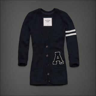 Abercrombie Fitch Womens Britt Navy Heritage Varsity Sweater Cardigan