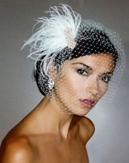 White Vintage Style Fascinator Clip Birdcage Bridal Veil Headpiece 21