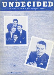 Ames Bros Les Brown Sheet Music Undecided 1951