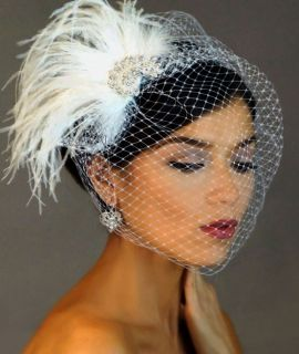Ivory CRYSTAL BROOCH Fascinator Hair Clip & Birdcage Bridal Veil