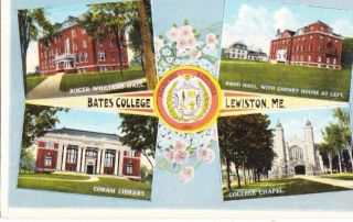 Postcard Bates College Lewiston Me Roger Williams Hall Coram Library