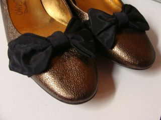 Ferragamo Brown Metalic Leather Ballet Flats Sz 8 5 Made in Italy