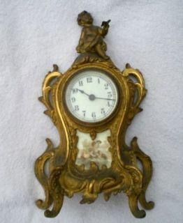 Antique Waterbury Gilded Cast Iron Mantel Clock w Cherub Butterfly