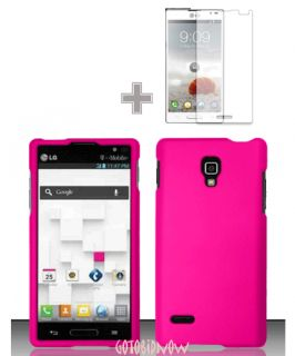 for LG Opimus L9 RUBBER PINK HARD SHELL PHONE CASE COVER 2PC SCREEN