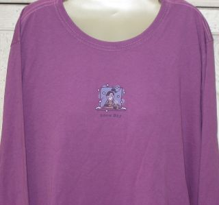 Life Is Good Womens Magenta Long Sleeve Snow Day w Jackie Shirt XL 1x