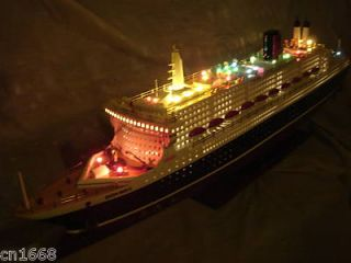 QUALITY HAND MADE WOODEN MODEL CRUISE SHIP WITH FLASHING LIGHT 40