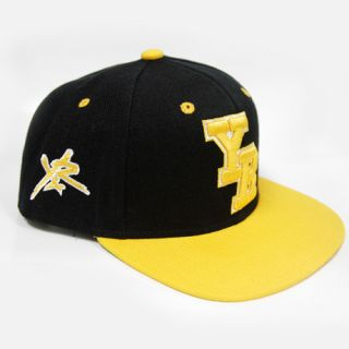 Reckless Y R Black Yellow Letterman Block Logo Snapback Hat