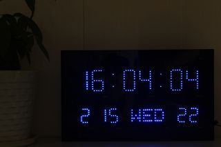 Big Digital Red Blue LED Wall Clock Calendar Temperature Light Sensor