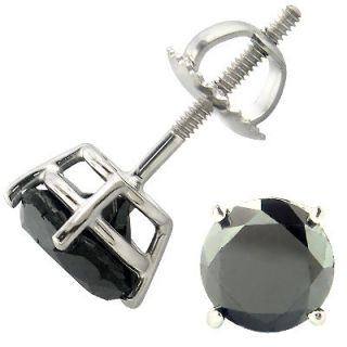 Mens Ladies .50CT Genuine Black Diamond White Gold Fin Screw Back