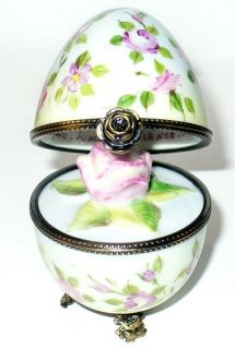 Limoges Box Floral Rose Egg Pedestal 3D Porcelain Rose Inside