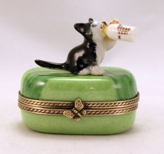 FRENCH LIMOGES BOX KITTY CAT KITTEN W MILK BOTTLE HINGED TRINKET BOX