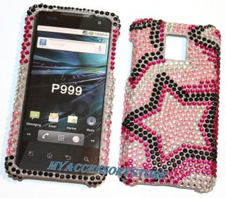 LG G2X P999 Pink Sars Glier Rhinesones Bling Cell Phone Case Cover