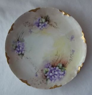 ANTIQUE HAVILAND LIMOGES FRANCE HAND PAINTED VIOLETS PLATE SIGNED 8 1