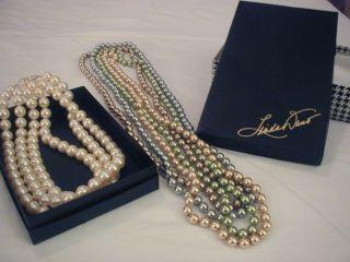 Linda Dano Boxed Set 4 Strands Faux Multi Color Pearls Plus 3 Strand