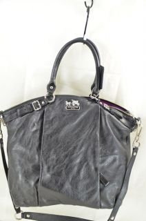 Coach 18641 Madison Lindsey Black Large Leather Satchel Bag $398