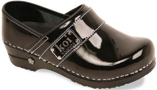 Sanita Womens Koi Lindsey Black Patent Leather Prof Clogs Shoes