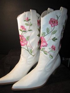 KICKING LINE DANCING WHITE LADIES COWBOY BOOTS PINK EMBROIDERED