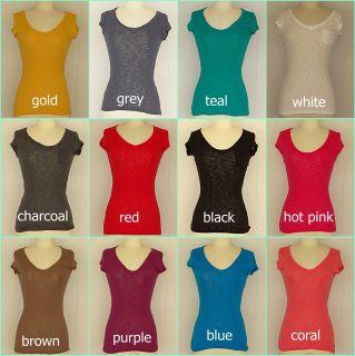 Womens Juniors Short Sleeve Burnout T Shirt Basic Casual V Neck Top