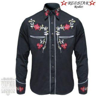 Black Cowboy Rockabilly Line Dancing Western Flower Embroidered Shirt