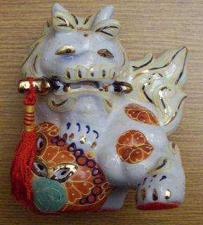 VINTAGE POTTERY JAPANESE SATSUMA FU FOO DOG TEMPLE GUARDIAN LIONS