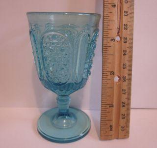 Antique Blue Aqua Goblet Cordial Stemmed Wine Pressed Glass 2 Patterns